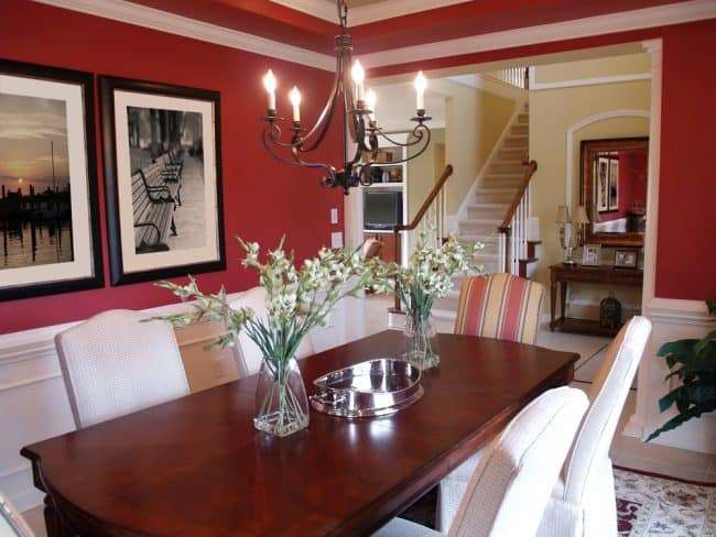 Dark Red Wall Paint Color For Dining Room