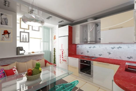 Kitchen design 6 sq.m. - new items for 2021-2022 with refrigerator